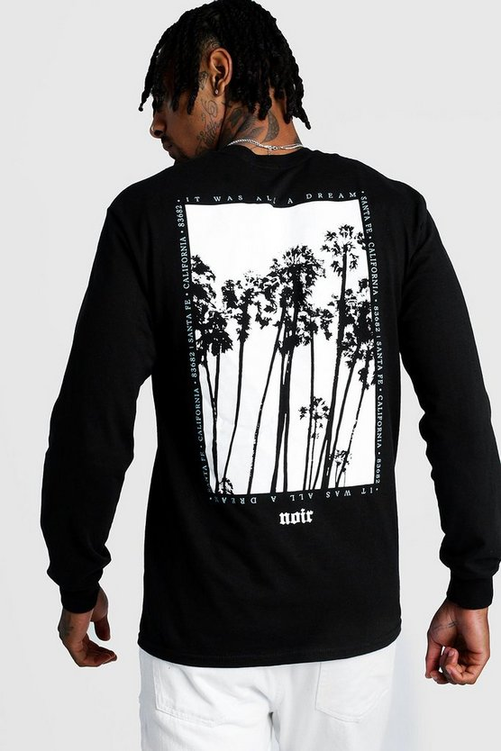Mens Black Long Sleeve Back Print T-Shirt