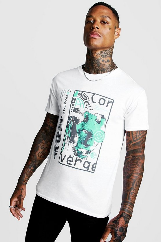 Mens White Front Print T-Shirt
