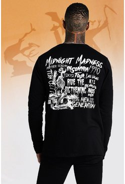 Mens Black Long Sleeve Skeleton Back Print T-Shirt