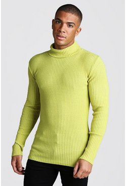 Mens Lime Muscle Fit Long Sleeve Ribbed Knitted Roll Neck