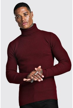 Mens Wine Muscle Fit Long Sleeve Ribbed Knitted Roll Neck