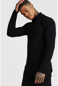 Black Muscle Fit Long Sleeve Ribbed Knitted Roll Neck