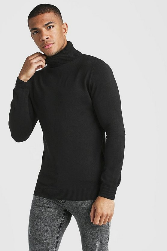 Muscle Fit Long Sleeve Knitted Roll Neck Jumper by Boohoo Man