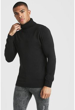 Mens Black Muscle Fit Long Sleeve Knitted Roll Neck Jumper