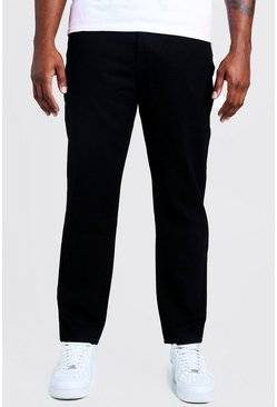 Big & Tall Steife Slim Fit Jeans, Schwarz