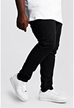 Mens Washed black Big & Tall Slim Fit Rigid Jean