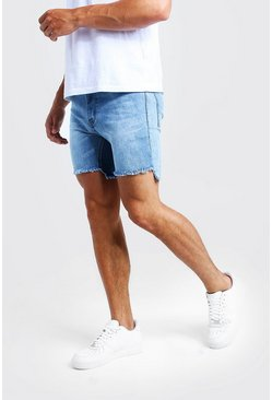 Mens Blue Skinny Fit Denim Shorts With Raw Stepped Hem