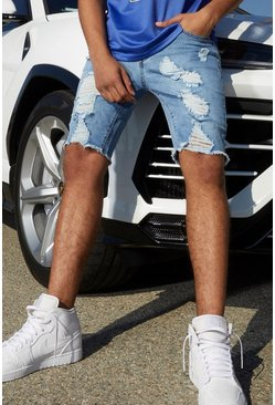 Light blue Slim Fit Denim Shorts With All Over Rips