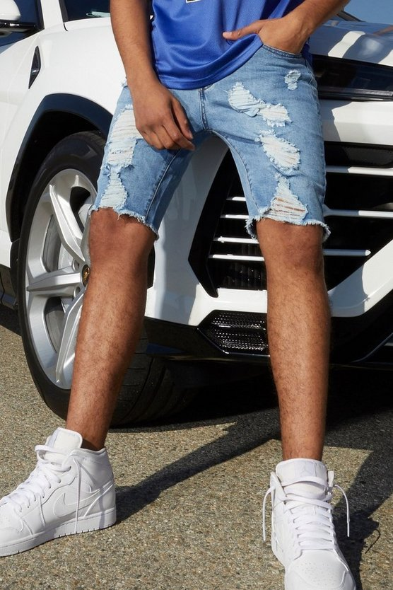 Mens Light blue Slim Fit Denim Shorts With All Over Rips