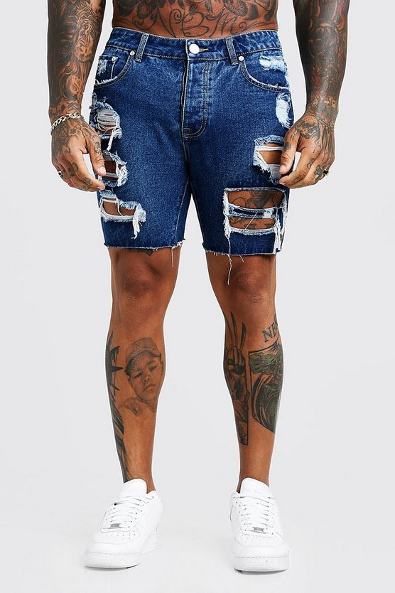 Mens Mid blue Slim Fit Denim Shorts With All Over Print