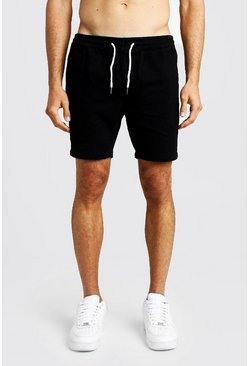 Slim Fit Rugby-Shorts aus Denim, Schwarz, Herren