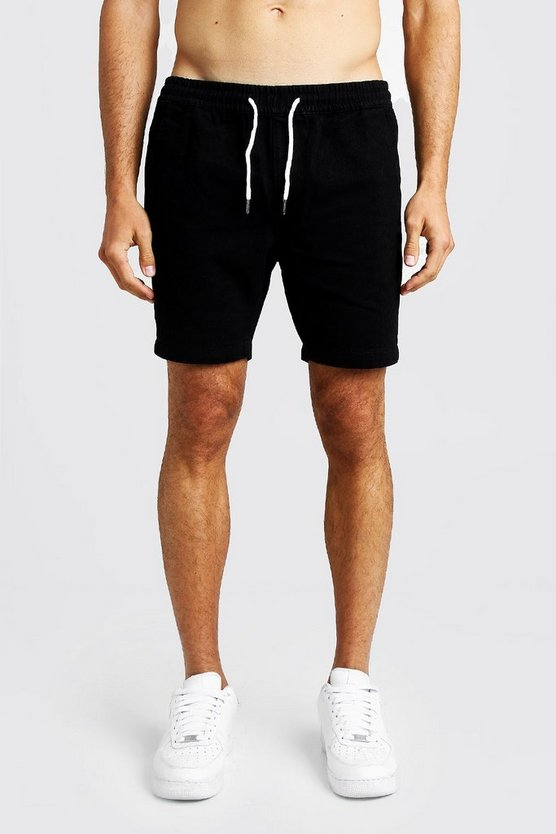 Mens Black Slim Fit Denim Rugby Shorts