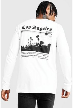 Mens White Long Sleeve Front & Back Print T-Shirt