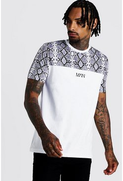Mens White Original MAN Snake Print Panel T-Shirt