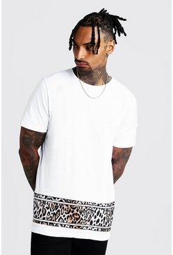 Mens White Colour Block Animal Print T-Shirt