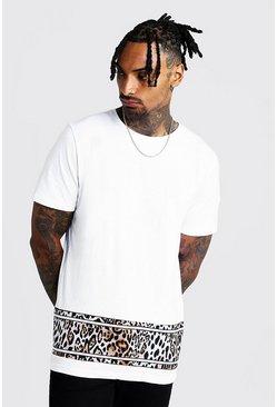 White Colour Block Animal Print T-Shirt