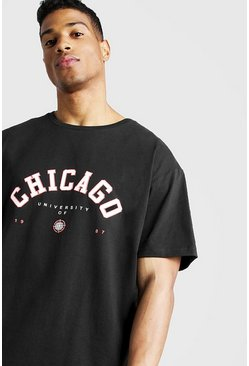 Mens Black Loose Fit Chicago T-Shirt