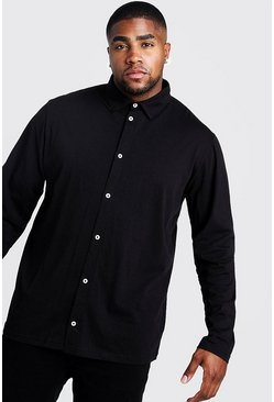Black Plus Size Basic Long Sleeve Jersey Shirt