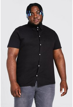 Mens Black Big and Tall Basic Short Sleeve Jersey Shirt