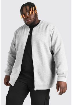 Grey marl Plus Size Basic Jersey Bomber