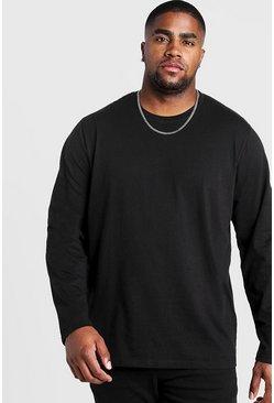 Black Plus Size Basic Long Sleeve T-Shirt