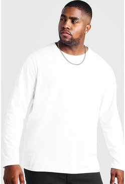 White Big and Tall Basic Long Sleeve T-Shirt