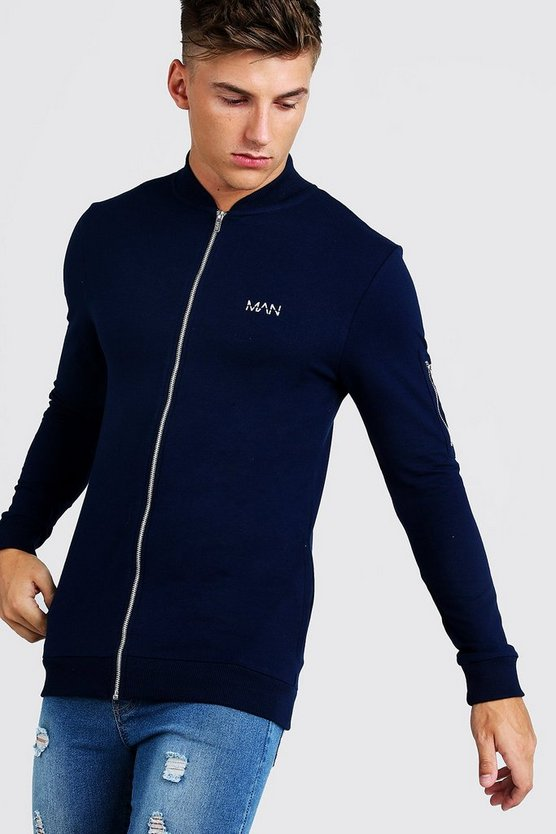 Mens Navy MAN Muscle Fit Jersey MA1 Bomber Jacket