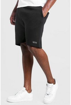 Big & Tall Skinny Fit Shorts mit MAN-Stickerei, Schwarz
