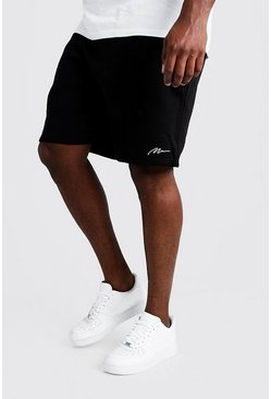 Big & Tall Skinny Fit Shorts mit MAN-Stickerei, Schwarz, Herren