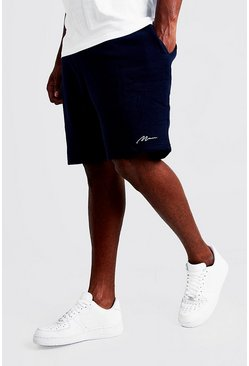 Big & Tall Skinny Fit Shorts mit MAN-Stickerei, Marineblau, Herren