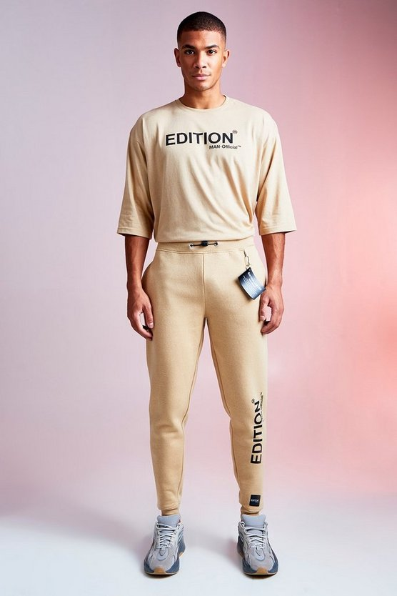 Mens Sand MAN Design Tee and Jogger Set