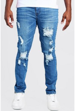 Mid blue Big & Tall Skinny Fit Jeans With Busted Knee
