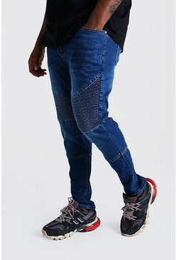 Mens Blue Big & Tall Skinny Fit Biker Jean