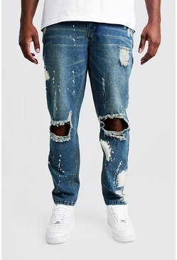 Mens Vintage wash Big & Tall Slim Bleached Distressed Jeans