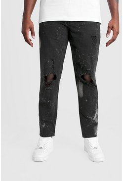 Washed black Big & Tall Slim Bleached Distressed Jeans