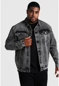 Mens Black Big & Tall Denim Jacket In Acid Wash