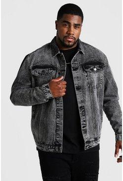 Black Big & Tall Denim Jacket In Acid Wash