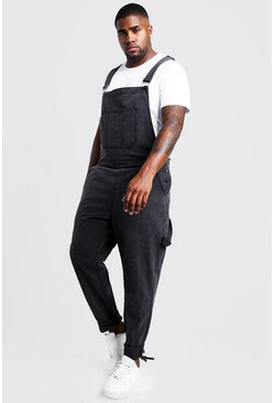 Charcoal Big & Tall Slim Fit Rigid Denim Overalls