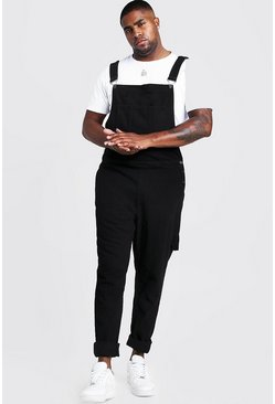 Mens Black Big & Tall Slim Fit Rigid Denim Dungarees