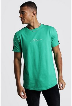 Mens Green MAN Signature Curved Hem T-Shirt With Tape Detail