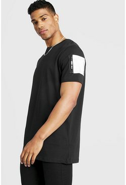 Mens Black Longline T-Shirt With Reflective MA1 Pocket