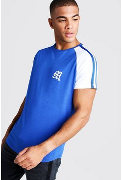 Mens Cobalt Gothic M Curved Hem T-Shirt With Tape Detail