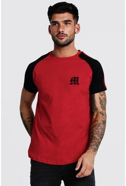 Mens Red Gothic M Curved Hem T-Shirt With Tape Detail