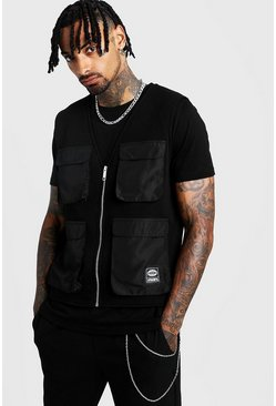 Mens Black MAN Utility Vest T-Shirt 2 In 1