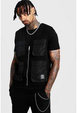 Black MAN Utility Vest T-Shirt 2 In 1
