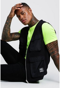 Mens Neon-yellow MAN Utility Vest T-Shirt 2 In 1