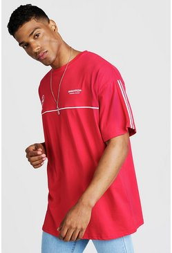 Mens Red MAN Official Oversized T-Shirt With Tape Detail
