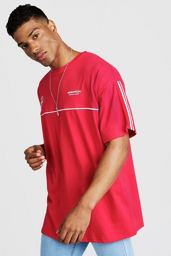 MAN Official Oversized T-Shirt mit Tape-Detail, Rot, Herren
