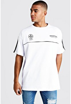 Mens White MAN Official Oversized T-Shirt With Tape Detail