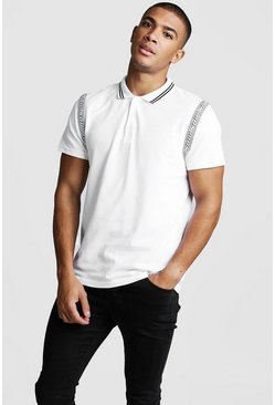Mens White MAN Tape Detail Polo